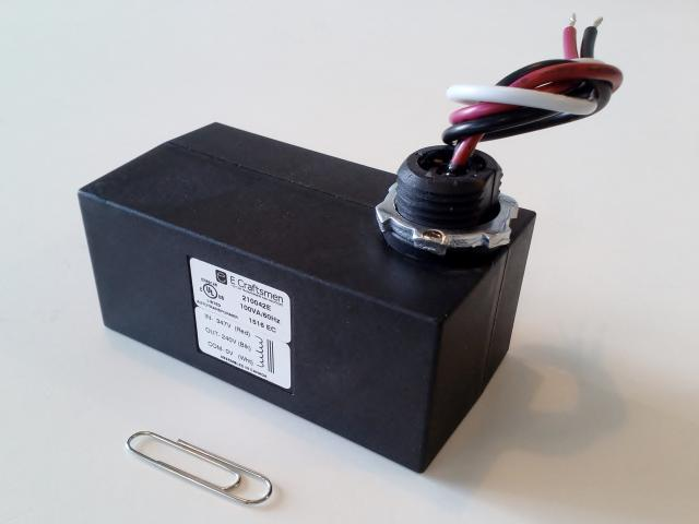 New! Enclosed Higher Power External Mount Slim-Line LED Lighting Step-Down Transformer, UL Listed.