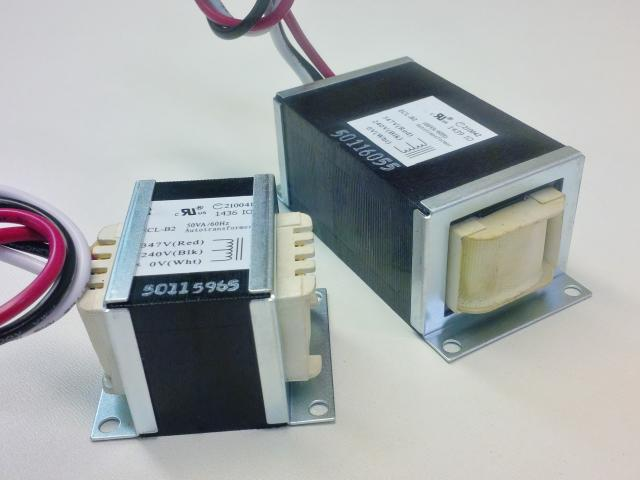 Slim Line Transformers shown with Optional Mounting Brackets